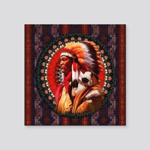 "Lakota Chief Square Sticker 3"" x 3"""