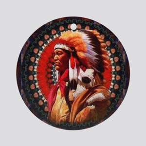 Lakota Chief Round Ornament