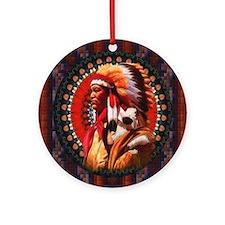 Lakota Chief Round Ornament