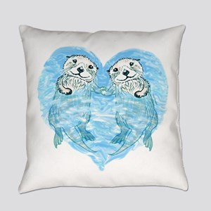 sea otters holding hands Everyday Pillow