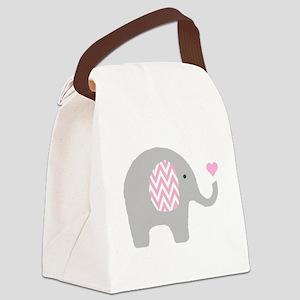 Pink Chevron Elephant Canvas Lunch Bag