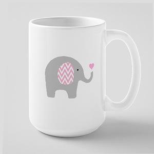 Pink Chevron Elephant Large Mug