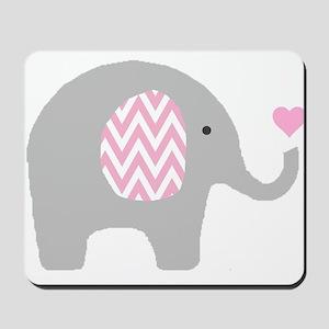 Pink Chevron Elephant Mousepad