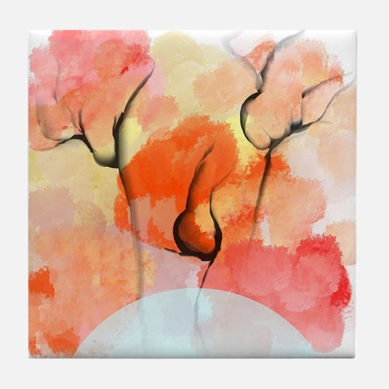 Abstract Flower Bouquet Tile Coaster