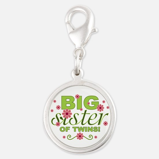 Big Sister of Twins Silver Round Charm