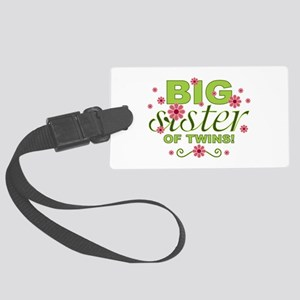 Big Sister of Twins Large Luggage Tag