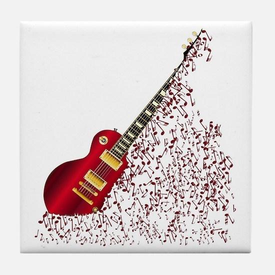 Musical Notes Fragmenting Guitar Tile Coaster