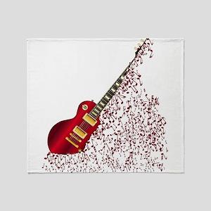 Musical Notes Fragmenting Guitar Throw Blanket