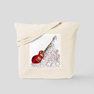 Musical Notes Fragmenting Guitar Tote Bag