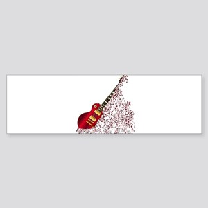 Musical Notes Fragmenting Guitar Bumper Sticker