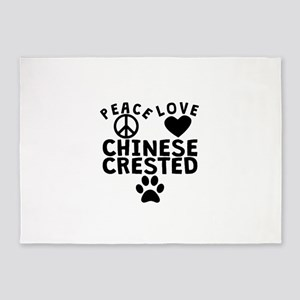Peace Love Chinese Crested 5'x7'Area Rug