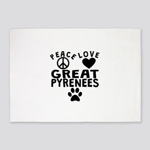 Peace Love Great Pyrenees 5'x7'Area Rug