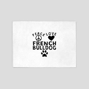 Peace Love French Bulldog 5'x7'Area Rug