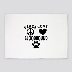 Peace Love Bloodhound 5'x7'Area Rug