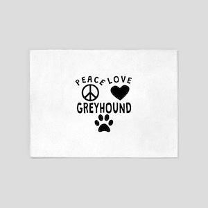 Peace Love Greyhound 5'x7'Area Rug