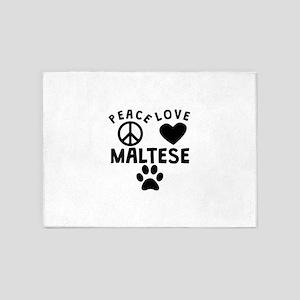 Peace Love Maltese 5'x7'Area Rug