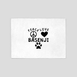 Peace Love Basenji 5'x7'Area Rug
