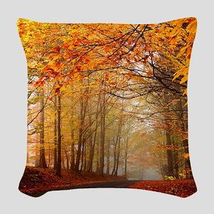 Road At Autumn Woven Throw Pillow