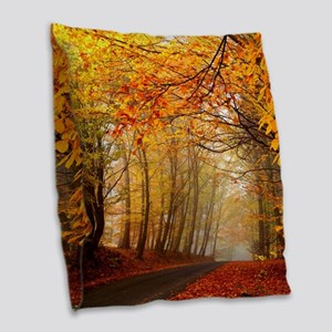 Road At Autumn Burlap Throw Pillow
