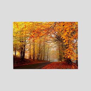 Road At Autumn 5 X7 Area Rug