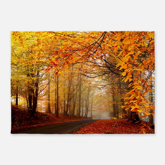 Road At Autumn 5'x7'Area Rug