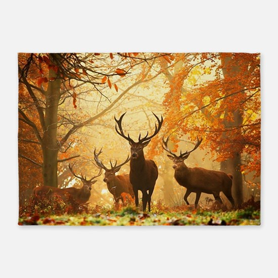 Deer In Autumn Forest 5'x7'Area Rug