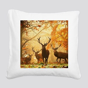 Deer In Autumn Forest Square Canvas Pillow