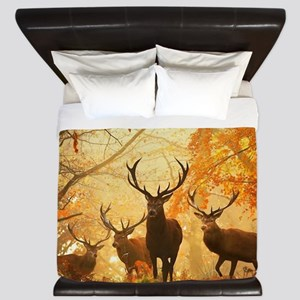 Deer In Autumn Forest King Duvet