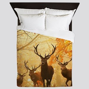 Deer In Autumn Forest Queen Duvet