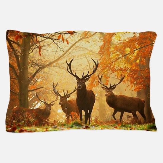 Deer In Autumn Forest Pillow Case