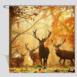 Deer In Autumn Forest Shower Curtain