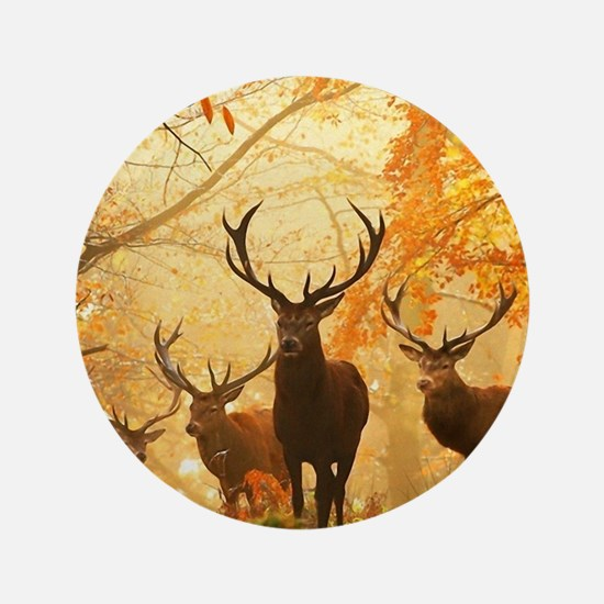 Deer In Autumn Forest Button
