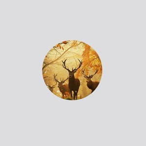 Deer In Autumn Forest Mini Button