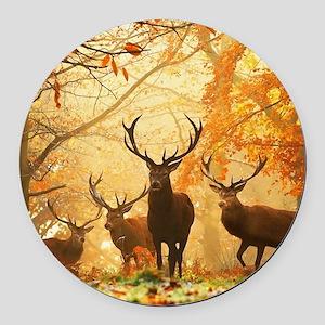 Deer In Autumn Forest Round Car Magnet