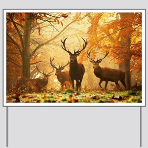 Deer In Autumn Forest Yard Sign