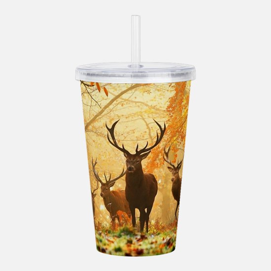 Deer In Autumn Forest Acrylic Double-wall Tumbler