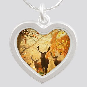 Deer In Autumn Forest Necklaces