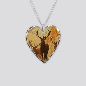 Deer In Autumn Forest Necklace Heart Charm
