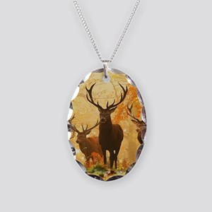 Deer In Autumn Forest Necklace Oval Charm