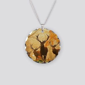 Deer In Autumn Forest Necklace Circle Charm