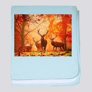 Deer In Autumn Forest baby blanket