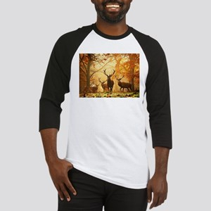 Deer In Autumn Forest Baseball Jersey