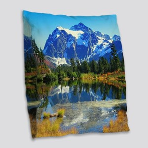Mountain At Autumn Burlap Throw Pillow