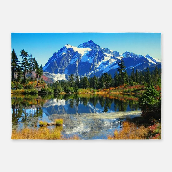 Mountain At Autumn 5'x7'Area Rug