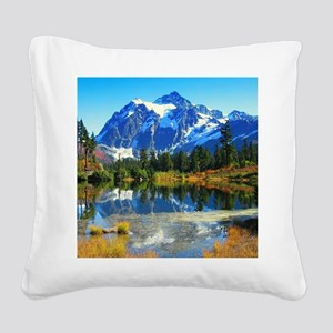 Mountain At Autumn Square Canvas Pillow