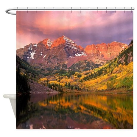 Mountains During Autumn Shower Curtain