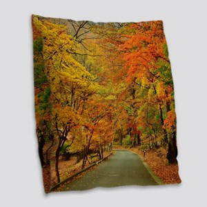 Park At Autumn Burlap Throw Pillow