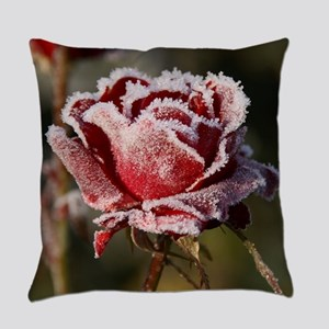 Rose With Frost On It Everyday Pillow