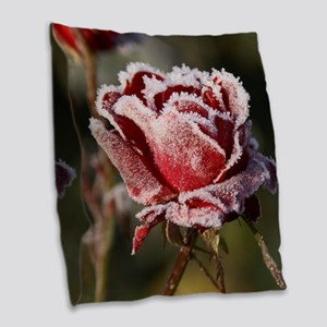 Rose With Frost On It Burlap Throw Pillow
