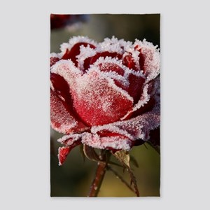 Rose With Frost On It Area Rug